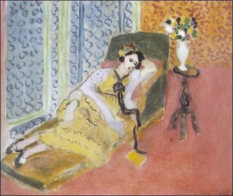 """Qui est le peintre de cette """"Jeune fille sur un divan, ruban noir"""" ?"""