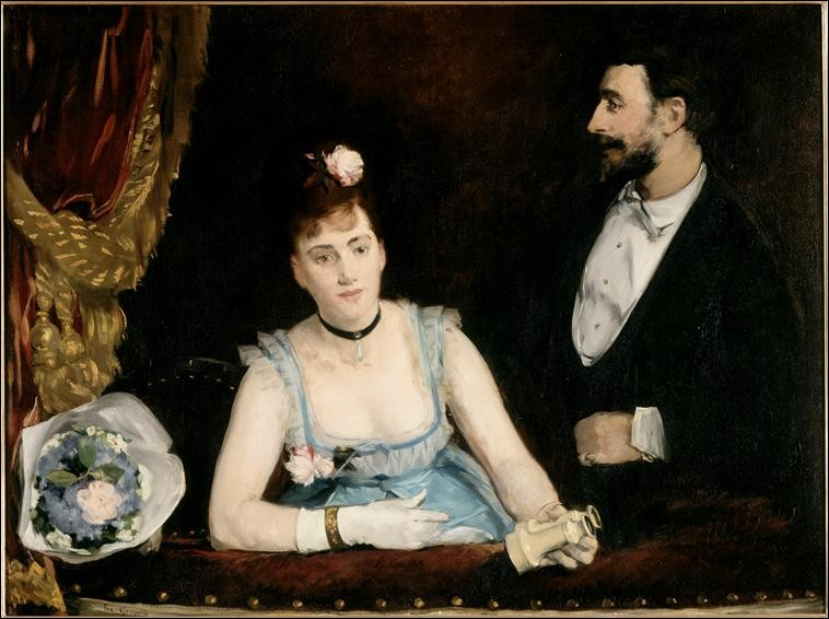 """Décolleté plongeant sur cette toile intitulée """"La Loge aux Italiens"""", de :"""
