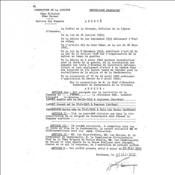 """1939 > Le """"rassemblement des étrangers"""" va s'organiser dans près de 200 centres dans toute la France. Combien vont """"accueillir"""" les """"Bohémiens, Tziganes, et autres nomades"""" ?"""