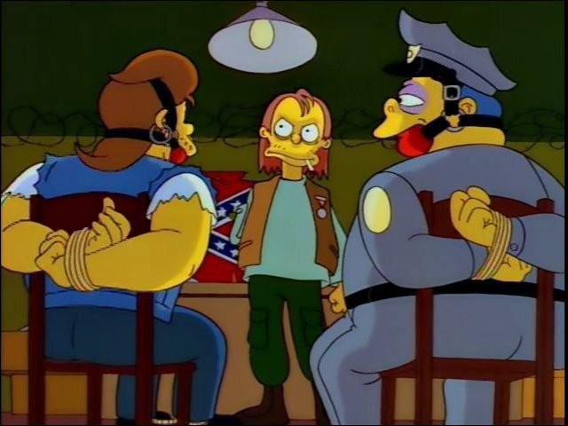 """Dans l'épisode """"22 courts-métrages sur Springfield"""" qui sauvent accidentellement le chef Wiggum et Serpent des griffes d'Herman ?"""