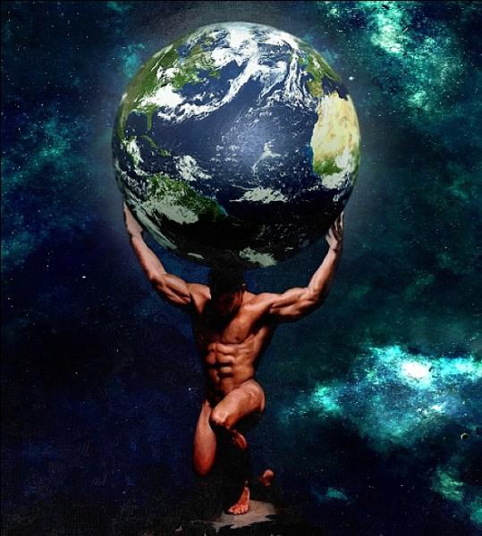 Qui est le père du pauvre Titan Atlas condamné par Zeus à soutenir le monde ?