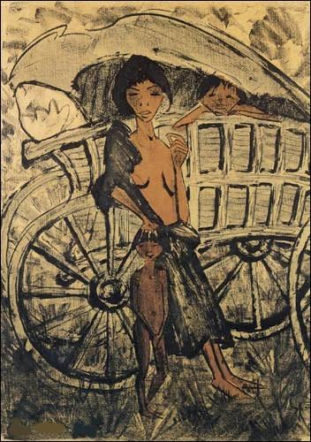 """Qui est l'auteur du tableau """"La Gitane et l'Enfant dans la voiture à bâche"""" ?"""