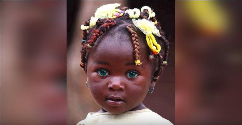 Cette petite fille a des yeux remarquables, une combinaison de bleu et de vert. La forme de son visage et de ses yeux laissent à penser qu'elle sera un modèle pour photographes. On dit souvent que les yeux sont le miroir de l'âme. Les yeux reflèteraient les émotions, le caractère et les sentiments sincères. Moi je la trouve triste.D'où vient-elle ?
