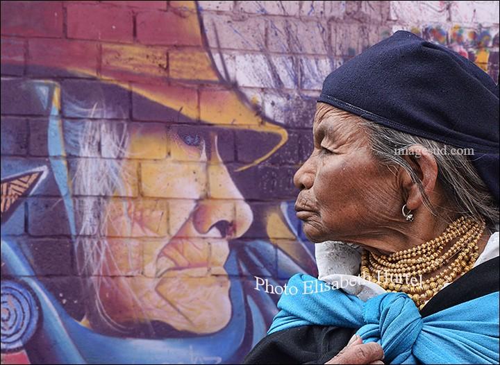 Cette photo d'Elisabeth Hurtel (ImageSud), se nomme ''Face à Face''. Il n'y a aucun montage dans son travail, ce sont d'authentiques scènes de rue avec des peuples des Andes, en costumes traditionnels. Ses créations saisissent tant par leur qualité que par leur diversité. L'âme de quel pays a-t-elle voulu nous confier, sur ce cliché, pour le plaisir de nos yeux ?Merci d'avoir voyagé avec moi.
