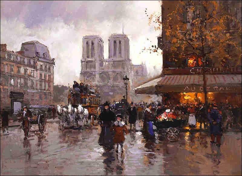 """Qui a peint """"Place Saint-Michel et Notre-Dame sous la pluie"""" ?"""