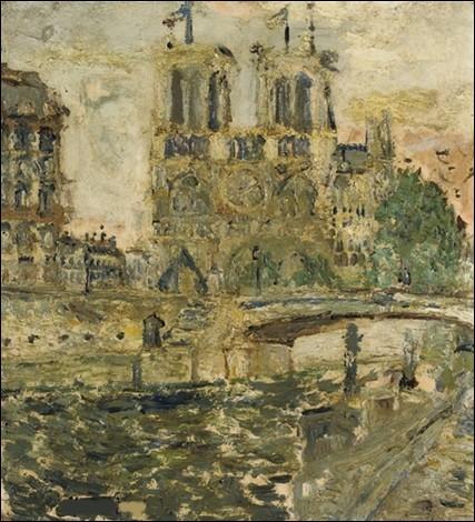 """C'est encore """"Notre-Dame de Paris, rues pavoisées"""" par le peintre :"""