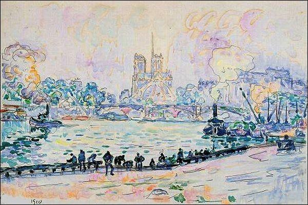 """Qui a réalisé cette toile représentant """"Les Quais de la Seine et Notre-Dame de Paris"""" ?"""