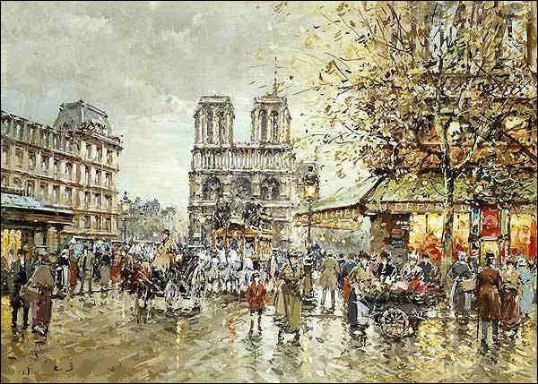 """Qui est le peintre de la """"Place Saint-Michel et Notre-Dame"""" ?"""