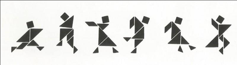 Voici un jeu de tangram. Combien de combinaisons est-il possible de faire avec un seul jeu de sept pièces ?