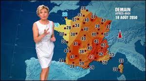 V : Virga : les virgas sont...(Image : Evelyne Dhéliat présente les prévisions météo pour le 18 août 2050 et montre que dans 30 ans, le réchauffement climatique aura pris sa place sur Terre.)
