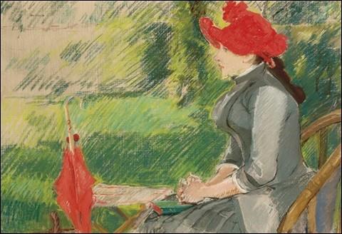 """Ce tableau s'intitule """"La Lecture au jardin"""" (ou """"Femme au chapeau rouge""""). Qui en est l'artiste ?"""