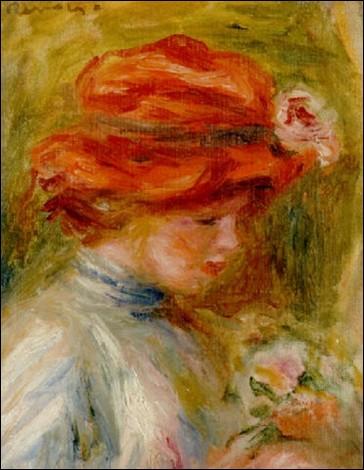 """On retrouve l'impressionnisme avec cette """"Femme au chapeau rouge"""" de l'artiste :"""