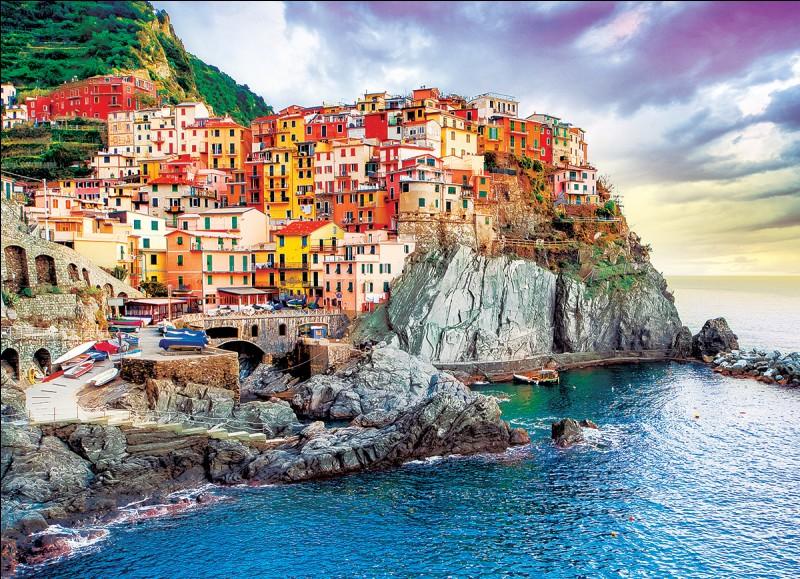 """Et voici un des cinq villages classés au patrimoine de l'UNESCO : ce sont les """"Cinque Terre"""" et leurs maisons gaies et colorées :"""