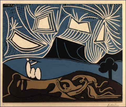 """À qui est le tableau intitulé """"Bacchanales, couples et flûtistes au bord d'un lac"""" ?"""