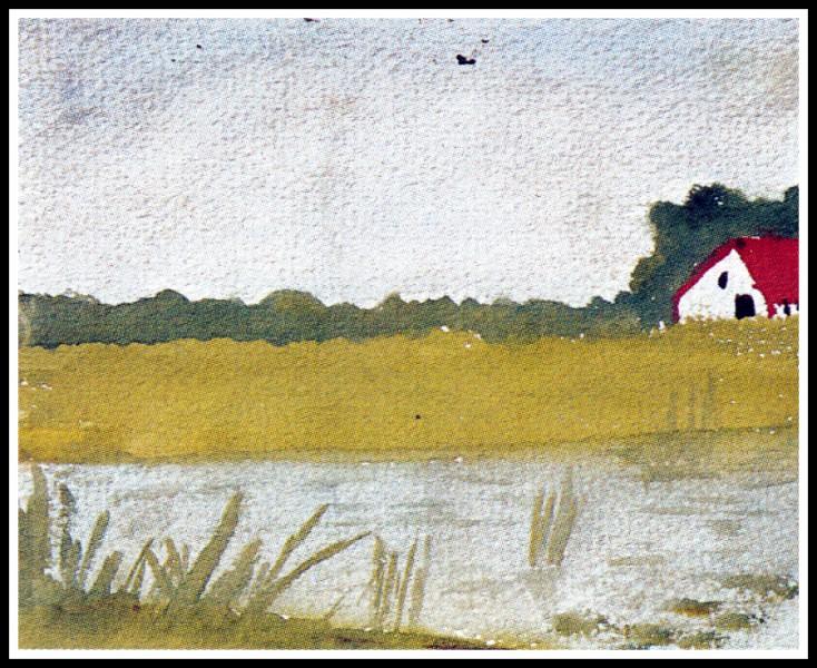 """À qui doit-on l'aquarelle """"Maison au bord d'un lac"""" ?"""