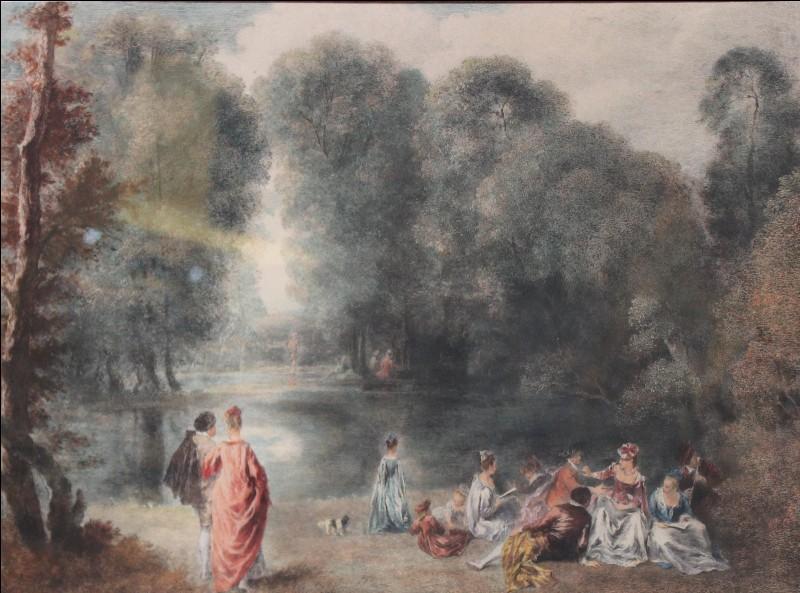 """Qui est le peintre de cette """"Fête galante au bord d'un lac"""" ?"""