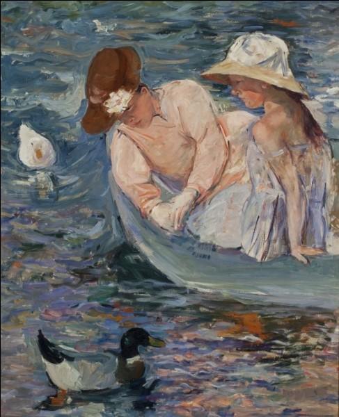 """Encore une peinture impressionniste appelée """"Sur le lac"""", par l'artiste :"""