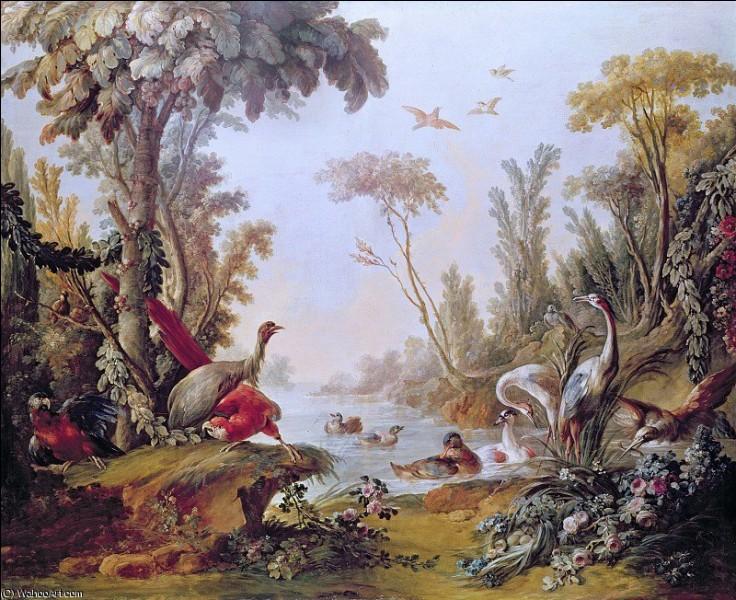"""Qui a représenté """"Lac avec des oies, perroquets et les hérons du Salon de Gilles Demarteau"""" ?"""