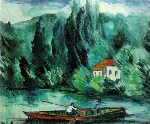 Qui a représenté ces bateaux sur le lac ?