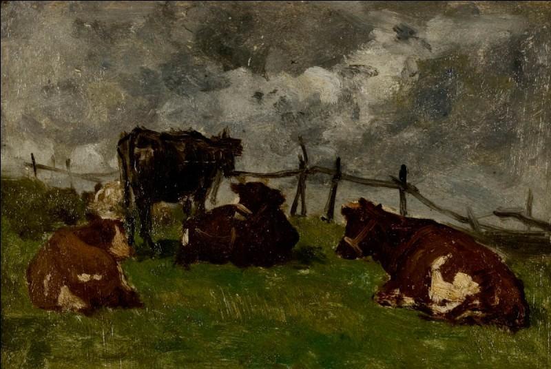"""Qui a peint ces """"Vaches couchées près d'une barrière"""" ?"""