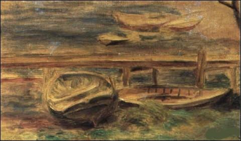 """Sa toile est intitulée """"Rivière, bateaux à terre, derrière une barrière"""" :"""