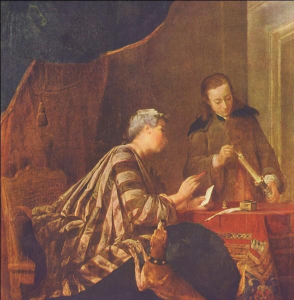 """Encore une bougie sur cette toile intitulée """"Femme cachetant une lettre"""", du peintre :"""