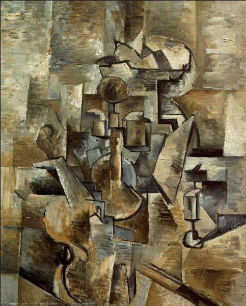 """Voici une toile intitulée """"Violon et chandelle"""", signée par :"""