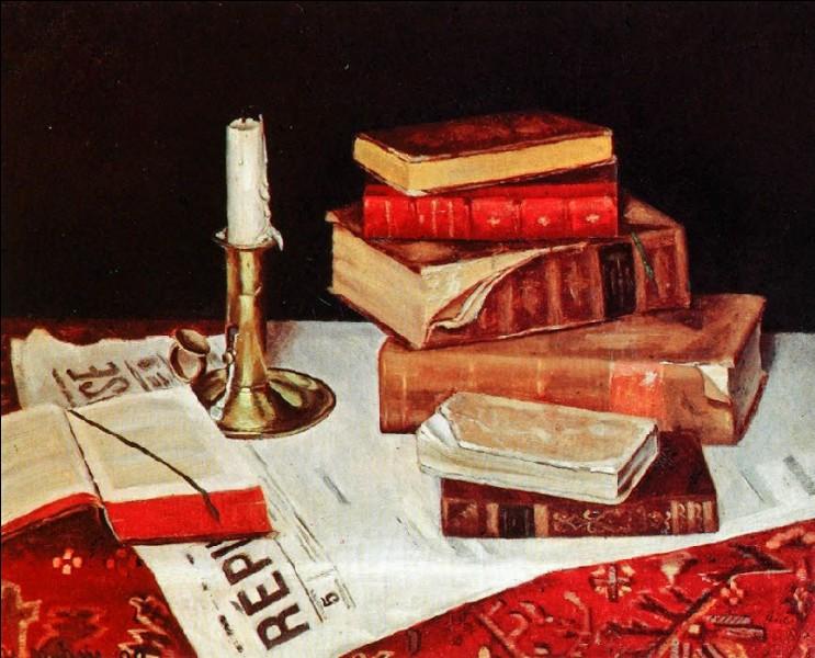 """La bougie est présente sur ce tableau intitulé """"Nature morte aux livres"""". Qui en est l'auteur ?"""