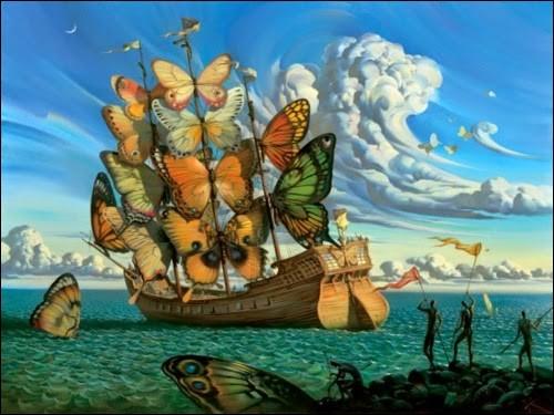 """Et voici """"Le départ du bateau ailé"""" du peintre :"""
