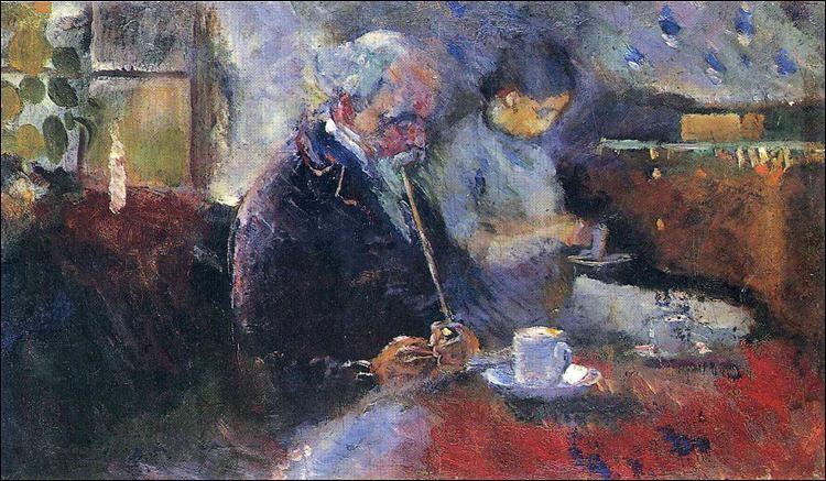 """Qui a réalisé le tableau intitulé """"À la table du café"""" ?"""