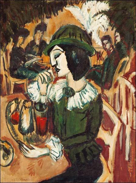 """Qui est l'auteur de la toile """"Dame en vert au Garden Café"""" ?"""