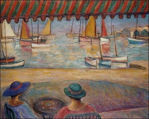"""Qui a peint """"Terrasse de café sur le port de l'île d'Yeu"""" ?"""