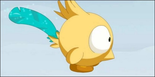 Comment se nomme l'oiseau qui accompagne Yugo partout ?