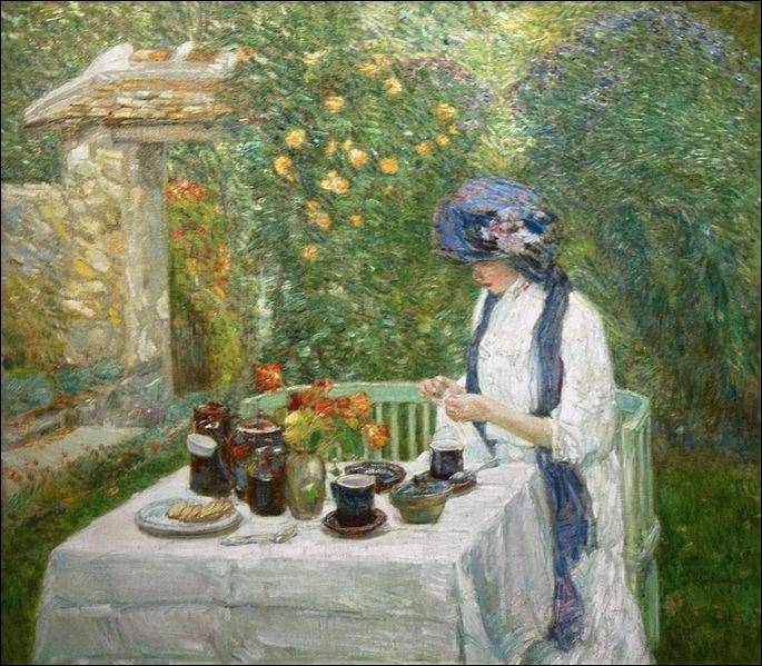 Quel peintre nous convie au thé dans son jardin ?