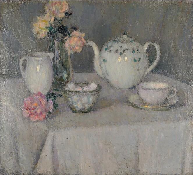 """La table est mise avec """"La Tasse de thé"""", du peintre :"""
