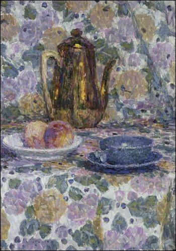"""Très jolie toile représentant """"La Théière dorée"""", signée par le peintre :"""