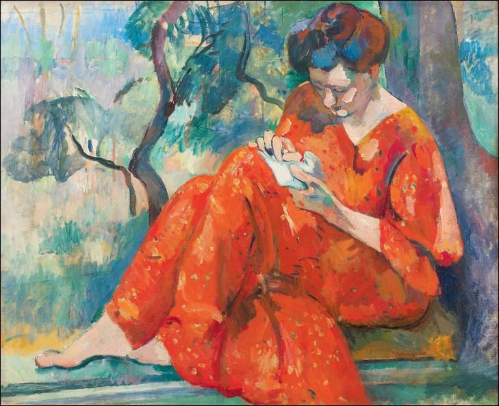 """Qui a peint Jeanne sur ce tableau intitulé """"Couseuse à la robe rouge"""" ?"""