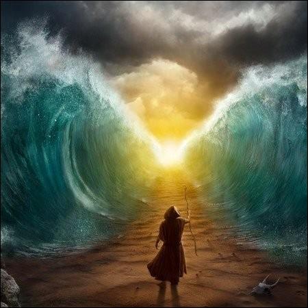 Par la force de Dieu, j'ai séparé la mer Rouge en deux pour laisser passer le peuple juif à pied sec. (Exode 14 : 15-25)