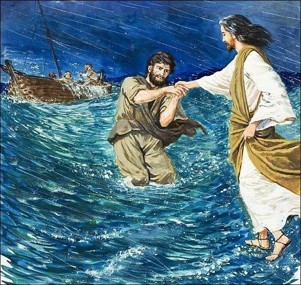 Nous avons tous deux marché miraculeusement sur l'eau. (Matthieu 14 : 22-29)