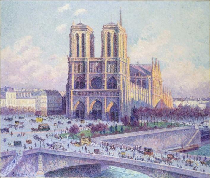 """Voici encore, pour l'éternité """"Notre-Dame de Paris vue du quai Saint-Michel"""" sur une toile de l'artiste :"""
