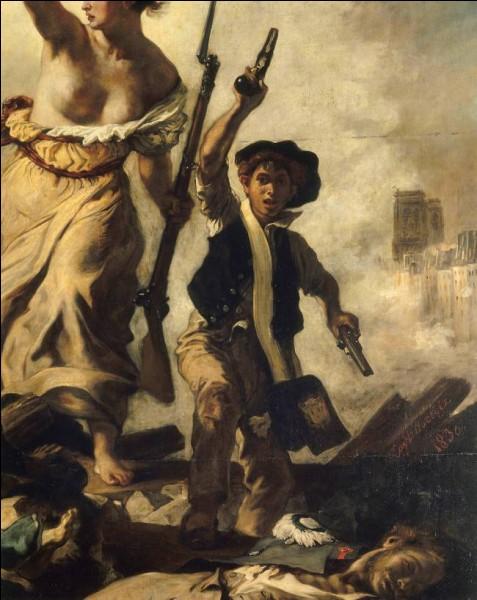 """Sur le tableau célèbre de Delacroix, dont n'aperçoit ici qu'un détail, que brandit """"La Liberté guidant le peuple"""" dans sa main droite ?"""