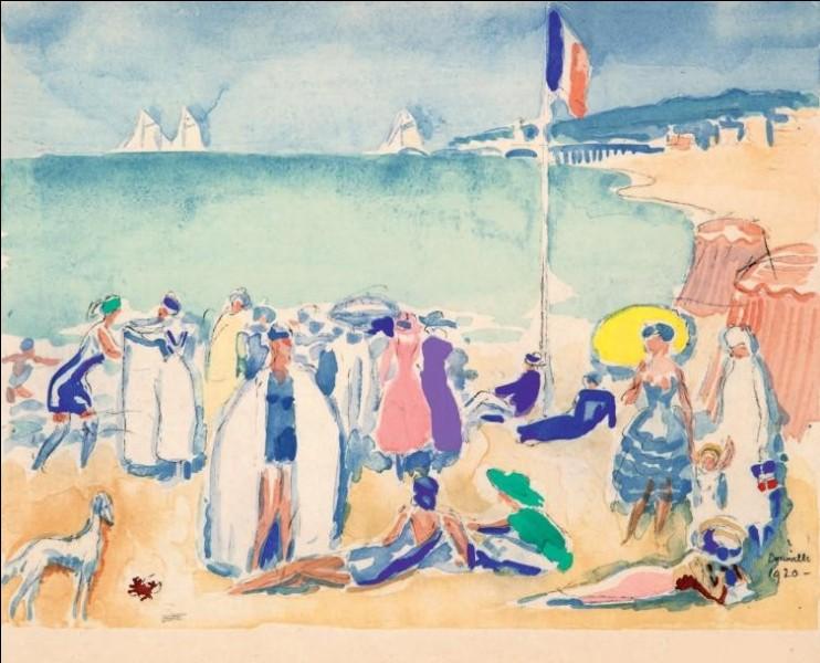 """Qui est l'auteur de l'aquarelle """"Plage à Deauville"""" ?"""