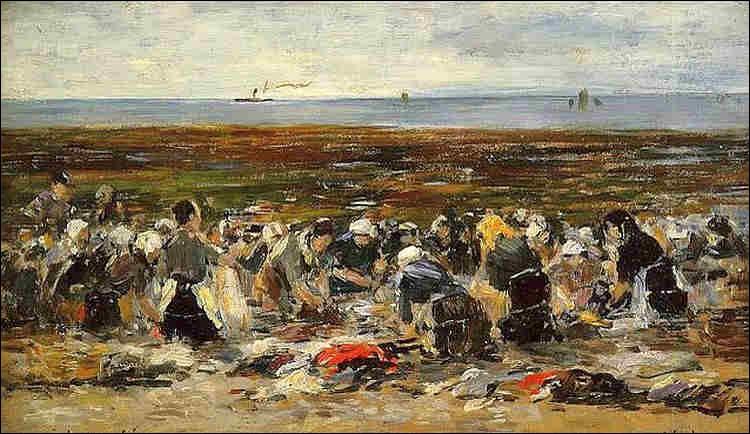 """Qui a peint """"Les Lavandières sur la plage à marée basse"""" ?"""