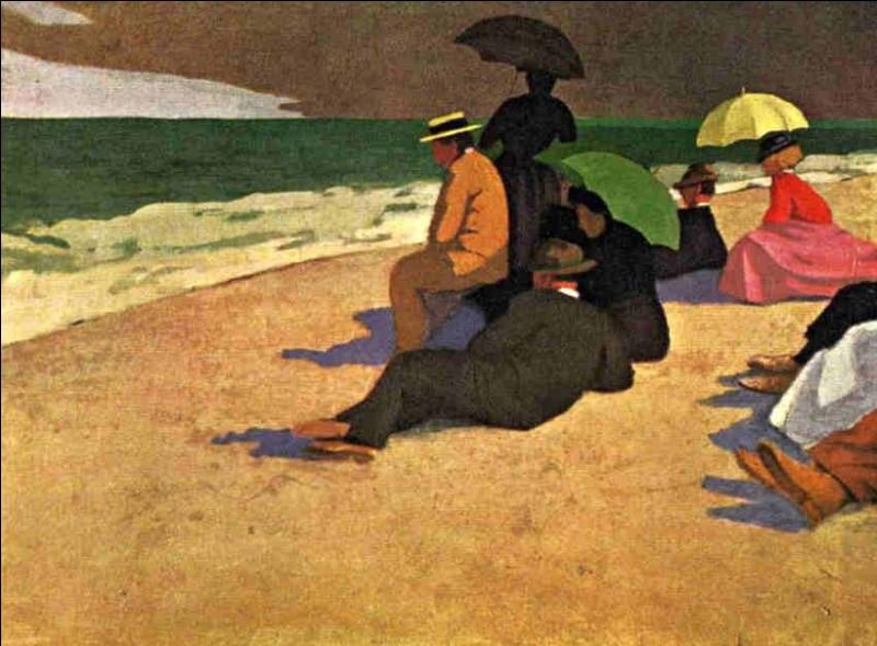 """Qui a réalisé la toile """"Sur la plage à Étretat"""" ?"""