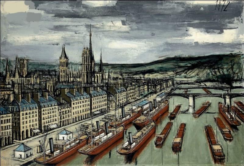 """Qui a réalisé cette toile représentant """"Rouen"""" ?"""