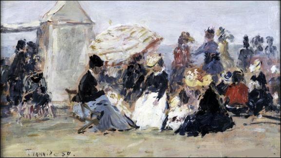"""Qui est le peintre de cette """"Scène de plage à Trouville"""" ?"""