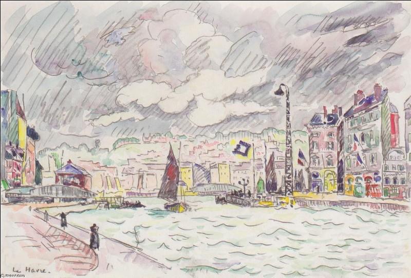 """Qui a réalisé l'aquarelle """"Le Havre sous la pluie"""" ?"""
