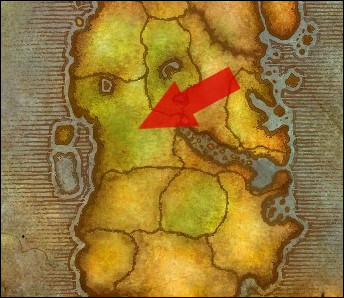 Comment se nomme la région indiquée par la flèche, en Kalimdor ?