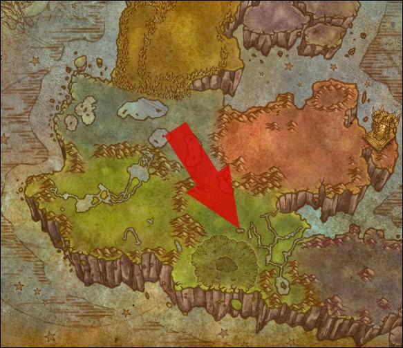 Comment se nomme la région indiquée par la flèche, en Outreterre ?