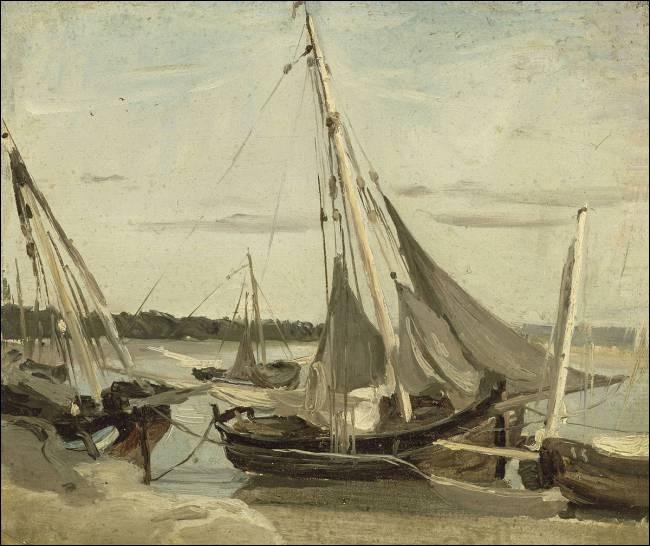 """Qui a peint """"Trouville, bateaux de pêche éclairés dans le chenal"""" ?"""